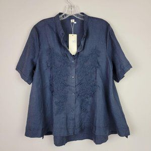 Xiao Lian Blue Embroidered Button Down Doll Top M